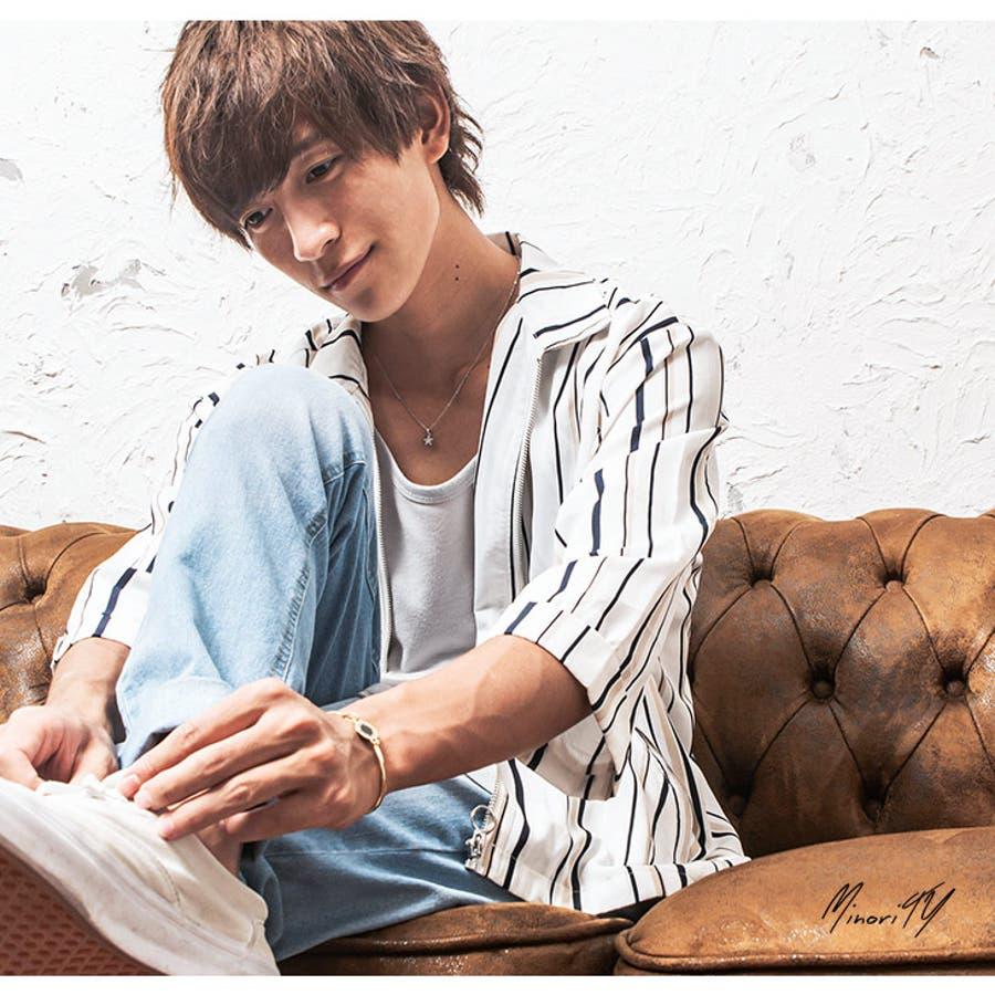 シャツジャケット メンズ ストライプ柄 7分袖 ジャケット ストライプ ワーク ジップ 韓国 ファッション メンズファッション モード系 ストリート系 マイノリティ minority 5