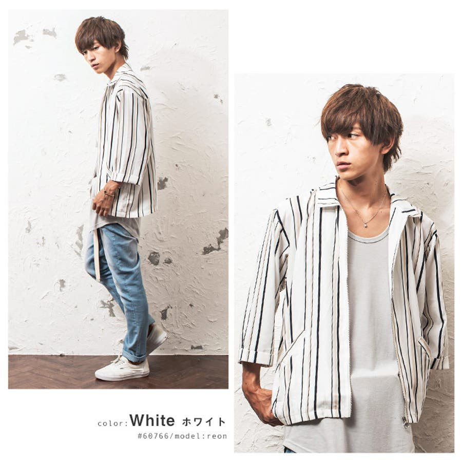 シャツジャケット メンズ ストライプ柄 7分袖 ジャケット ストライプ ワーク ジップ 韓国 ファッション メンズファッション モード系 ストリート系 マイノリティ minority 6