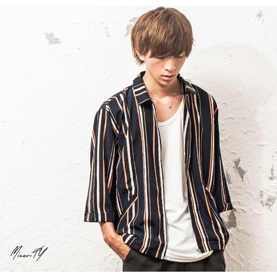 シャツジャケット メンズ ストライプ柄 7分袖 ジャケット ストライプ ワーク ジップ 韓国 ファッション メンズファッション モード系 ストリート系 マイノリティ minority 4