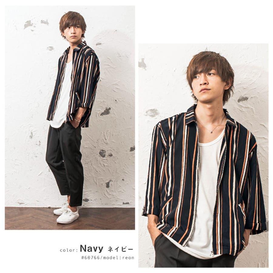 シャツジャケット メンズ ストライプ柄 7分袖 ジャケット ストライプ ワーク ジップ 韓国 ファッション メンズファッション モード系 ストリート系 マイノリティ minority 3