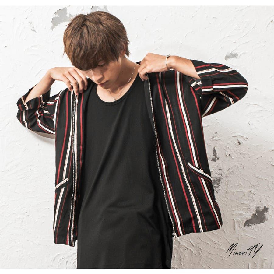 シャツジャケット メンズ ストライプ柄 7分袖 ジャケット ストライプ ワーク ジップ 韓国 ファッション メンズファッション モード系 ストリート系 マイノリティ minority 7