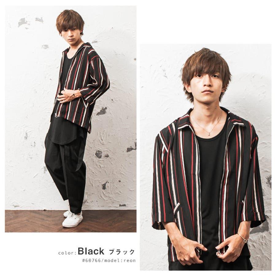 シャツジャケット メンズ ストライプ柄 7分袖 ジャケット ストライプ ワーク ジップ 韓国 ファッション メンズファッション モード系 ストリート系 マイノリティ minority 8