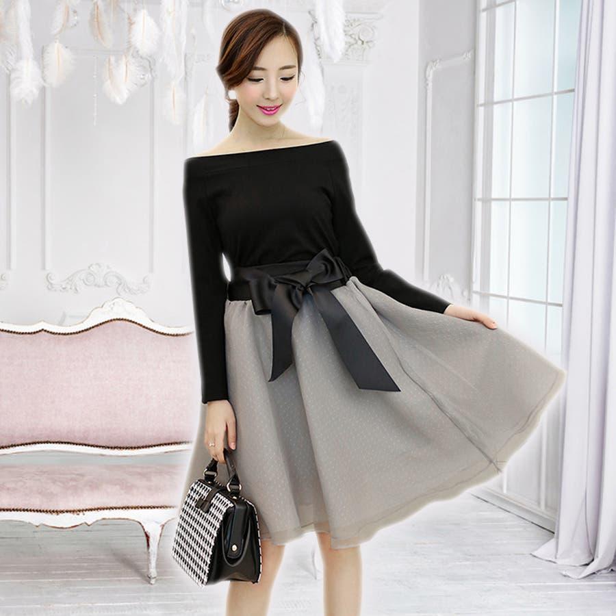 ふんわりチュチュスカートのセットアップドレス可愛い ドレス パーティドレス ワンピース セットアップ セパレート 結婚式 披露宴