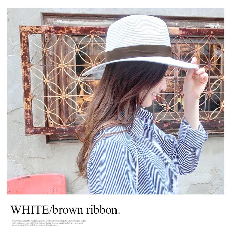 5a8ebfd62985d つば広グログランリボンシンプルストローハット麦わら帽子中折れ帽子天然素材パナマ帽パナマ