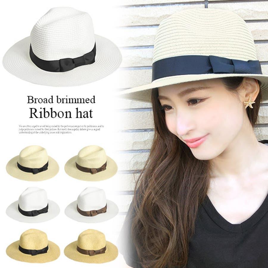 fcd141172b4d0 つば広 グログランリボン シンプル ストローハット 麦わら帽子 中折れ帽子 天然素材 パナマ帽 パナマ