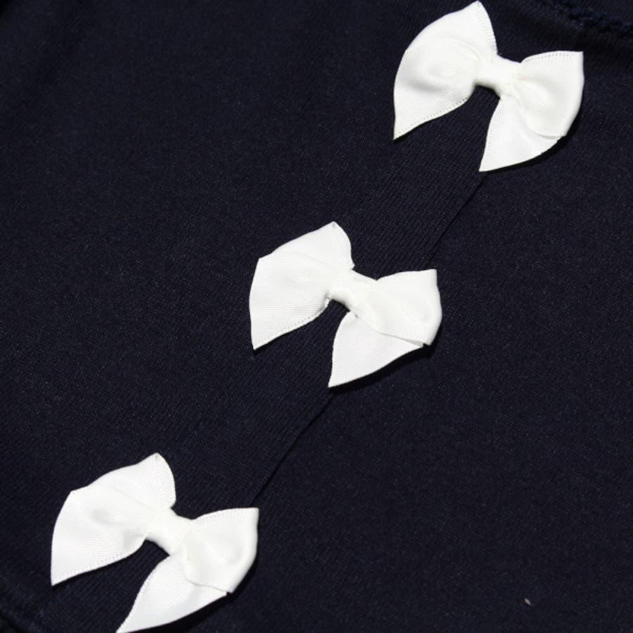 子供服 女の子 ワンピース・ジャンパースカート 半袖 普段着 通学着 ベビーサイズ リボン付きローウエスト切り替えかぶりタイプ ピンクネイビー パープル 80cm 90cm 95cm 【アイアムマリリン IamMarilyn】 4