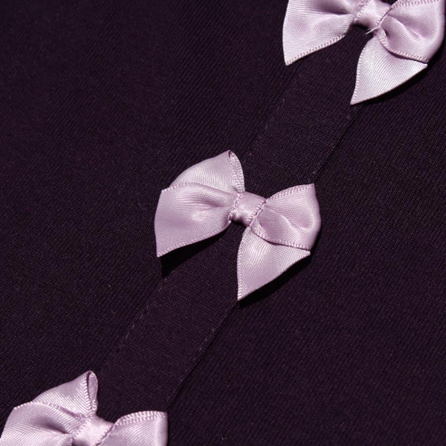 子供服 女の子 ワンピース・ジャンパースカート 半袖 普段着 通学着 ベビーサイズ リボン付きローウエスト切り替えかぶりタイプ ピンクネイビー パープル 80cm 90cm 95cm 【アイアムマリリン IamMarilyn】 6