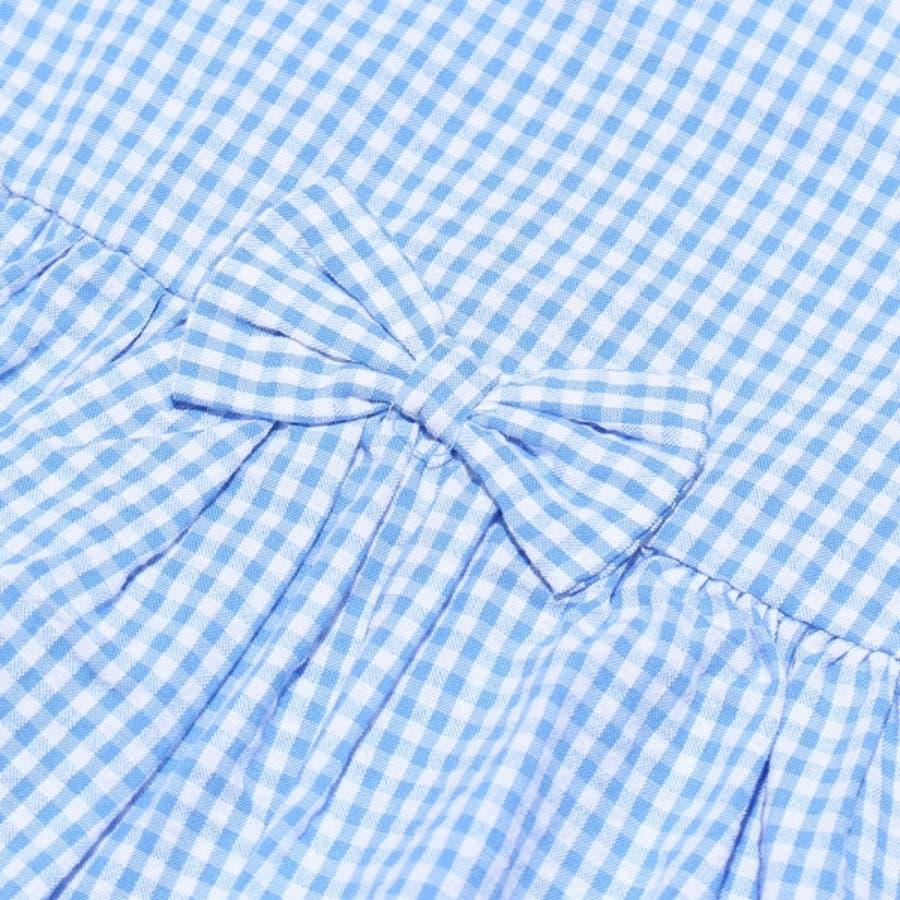 子供服 女の子 ワンピース・ジャンパースカート 半袖 ベビー服 綿100%サッカー素材ギンガムチェック柄リボン付き音符プリント ピンクブルー 90cm 95cm 【アイアムマリリン IamMarilyn】 8