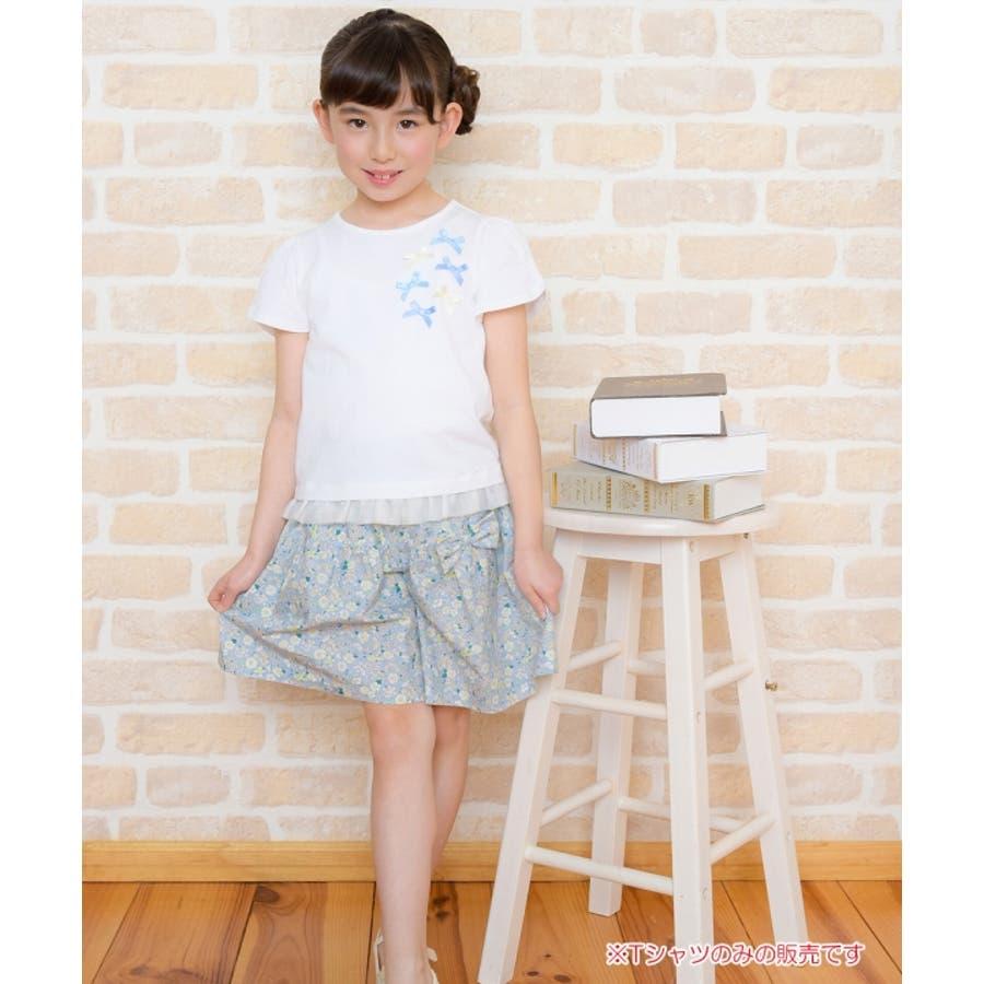 子供服 女の子 Tシャツ 半袖 普段着 通学着 リボンつきチューリップスリーブ チュールフリル オフホワイト ブルー 100cm110cm 120cm 130cm 【アイアムマリリン IamMarilyn】 9