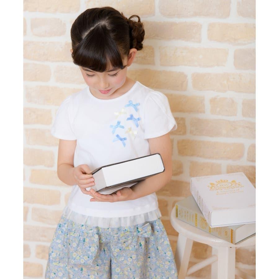 子供服 女の子 Tシャツ 半袖 普段着 通学着 リボンつきチューリップスリーブ チュールフリル オフホワイト ブルー 100cm110cm 120cm 130cm 【アイアムマリリン IamMarilyn】 10