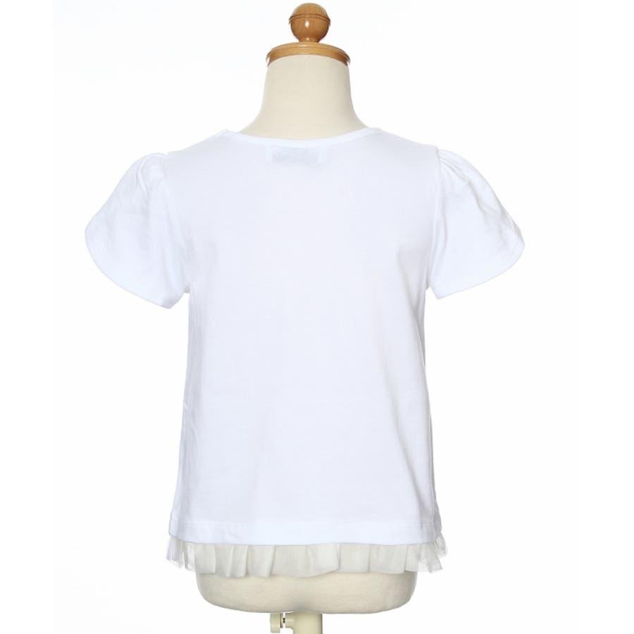 子供服 女の子 Tシャツ 半袖 普段着 通学着 リボンつきチューリップスリーブ チュールフリル オフホワイト ブルー 100cm110cm 120cm 130cm 【アイアムマリリン IamMarilyn】 3
