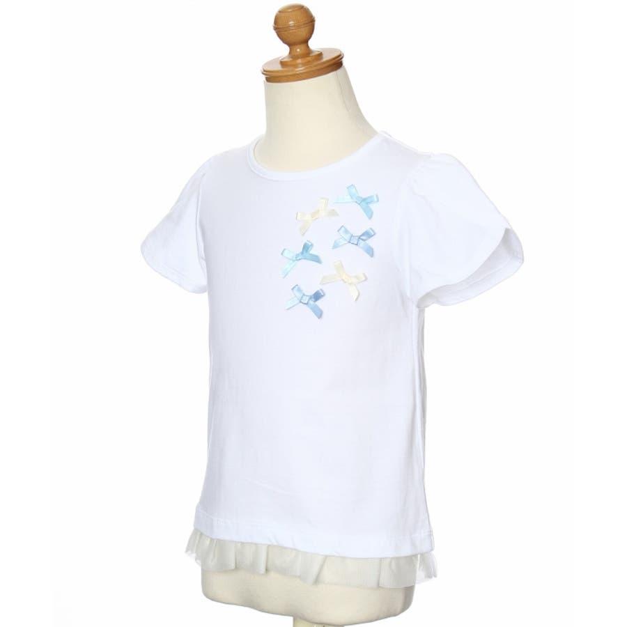 子供服 女の子 Tシャツ 半袖 普段着 通学着 リボンつきチューリップスリーブ チュールフリル オフホワイト ブルー 100cm110cm 120cm 130cm 【アイアムマリリン IamMarilyn】 4