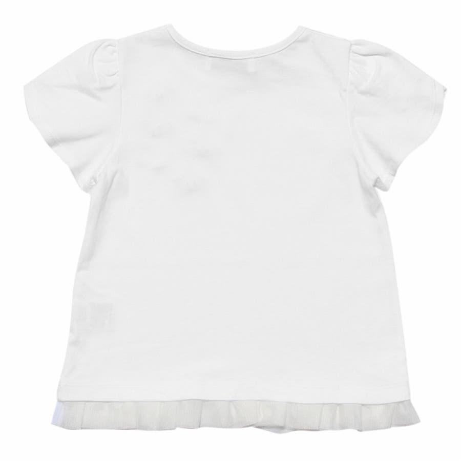 子供服 女の子 Tシャツ 半袖 普段着 通学着 リボンつきチューリップスリーブ チュールフリル オフホワイト ブルー 100cm110cm 120cm 130cm 【アイアムマリリン IamMarilyn】 6