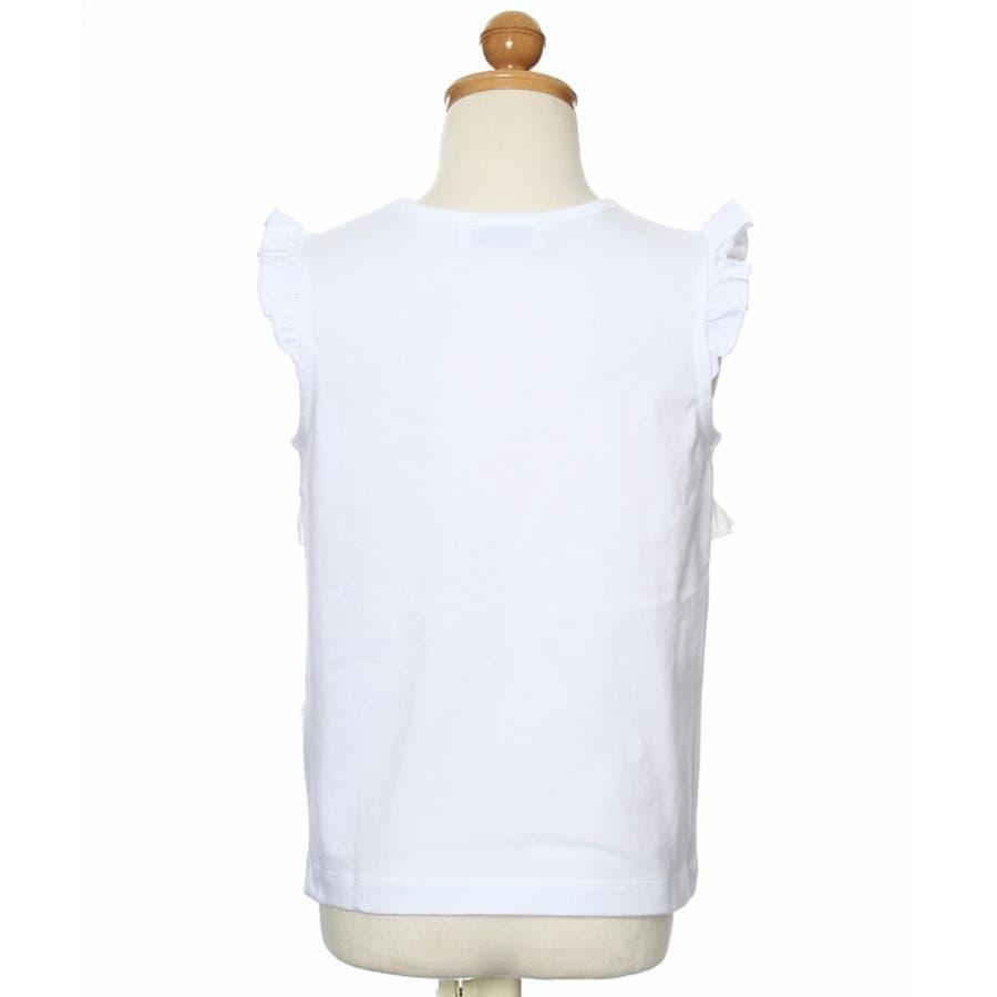 子供服 女の子 Tシャツ ノースリーブ 普段着 通学着 綿100%シフォンフリルつき無地 オフホワイト 120cm 130cm140cm 150cm 160cm 【アイアムマリリン IamMarilyn】 3