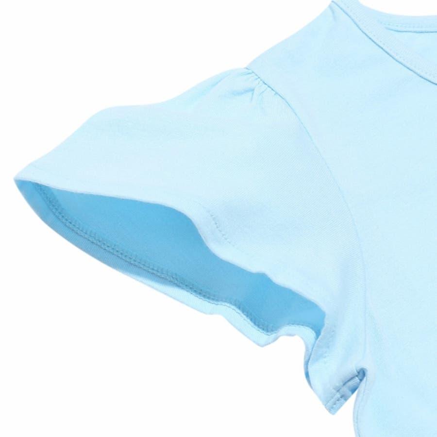 子供服 女の子 Tシャツ 半袖 普段着 通学着 ジュニアサイズ 綿100%音符刺繍リボン付きフレアー袖 オフホワイト ブルー140cm 150cm 160cm 【アイアムマリリン IamMarilyn】 9