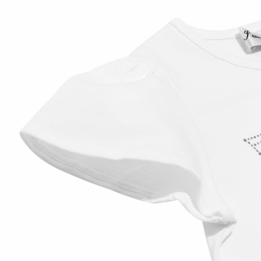 子供服 女の子 Tシャツ 半袖 普段着 通学着 ジュニアサイズ 綿100%音符刺繍リボン付きフレアー袖 オフホワイト ブルー140cm 150cm 160cm 【アイアムマリリン IamMarilyn】 5