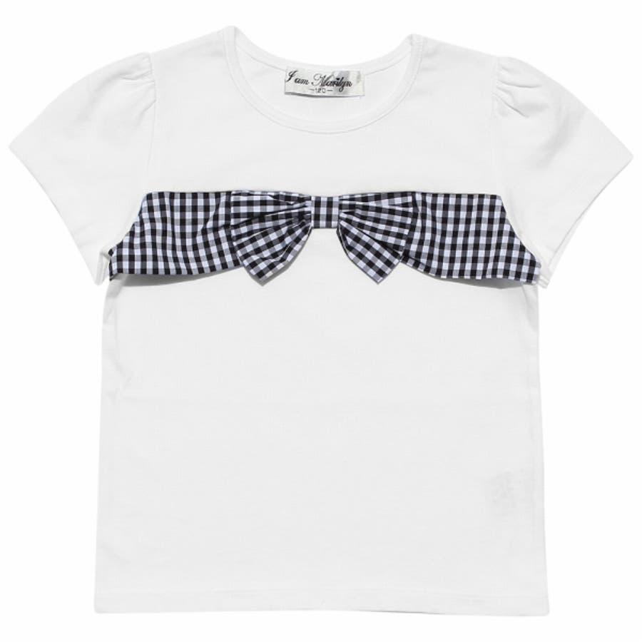 子供服 女の子 Tシャツ 半袖 普段着 通学着 綿100%ギンガムチェック柄リボン付き オフホワイト パープル 120cm 130cm140cm 150cm 160cm 【アイアムマリリン IamMarilyn】 5
