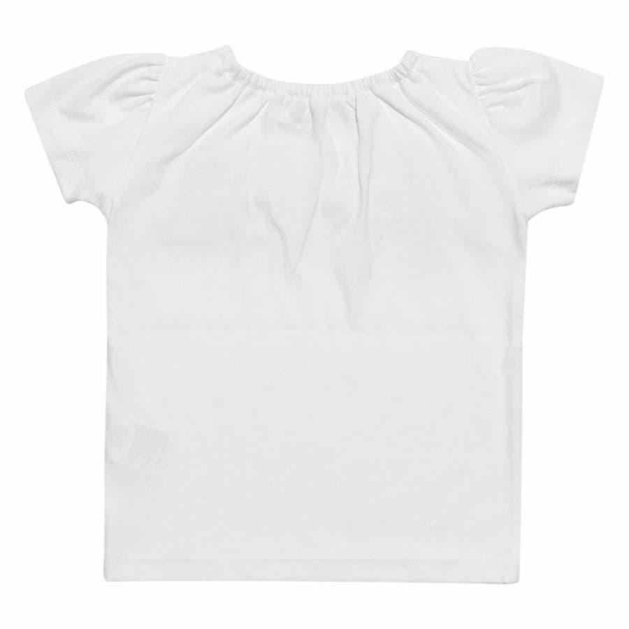 子供服 女の子 Tシャツ 半袖 普段着 通園着 ベビーサイズ 綿100%チェック柄リボンつき オフホワイト パープル 80cm90cm 【アイアムマリリン IamMarilyn】 3
