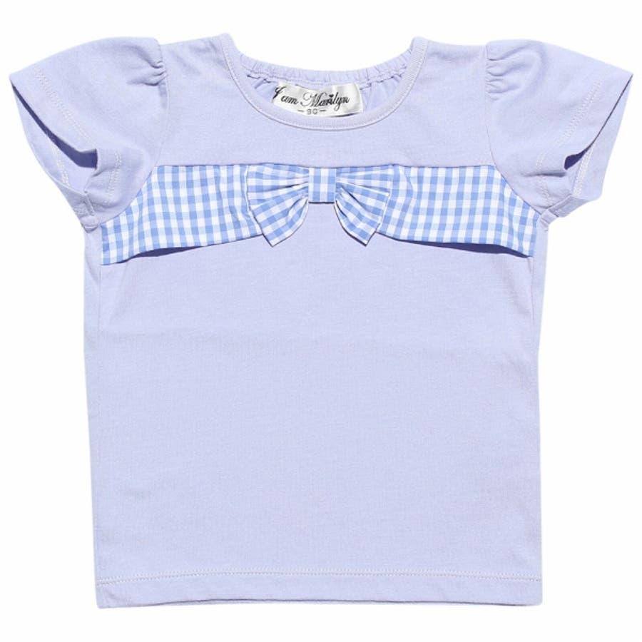 子供服 女の子 Tシャツ 半袖 普段着 通園着 ベビーサイズ 綿100%チェック柄リボンつき オフホワイト パープル 80cm90cm 【アイアムマリリン IamMarilyn】 6