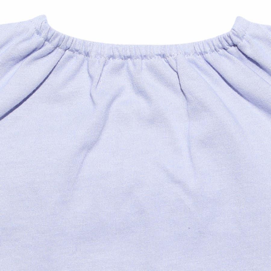 子供服 女の子 Tシャツ 半袖 普段着 通園着 ベビーサイズ 綿100%チェック柄リボンつき オフホワイト パープル 80cm90cm 【アイアムマリリン IamMarilyn】 9