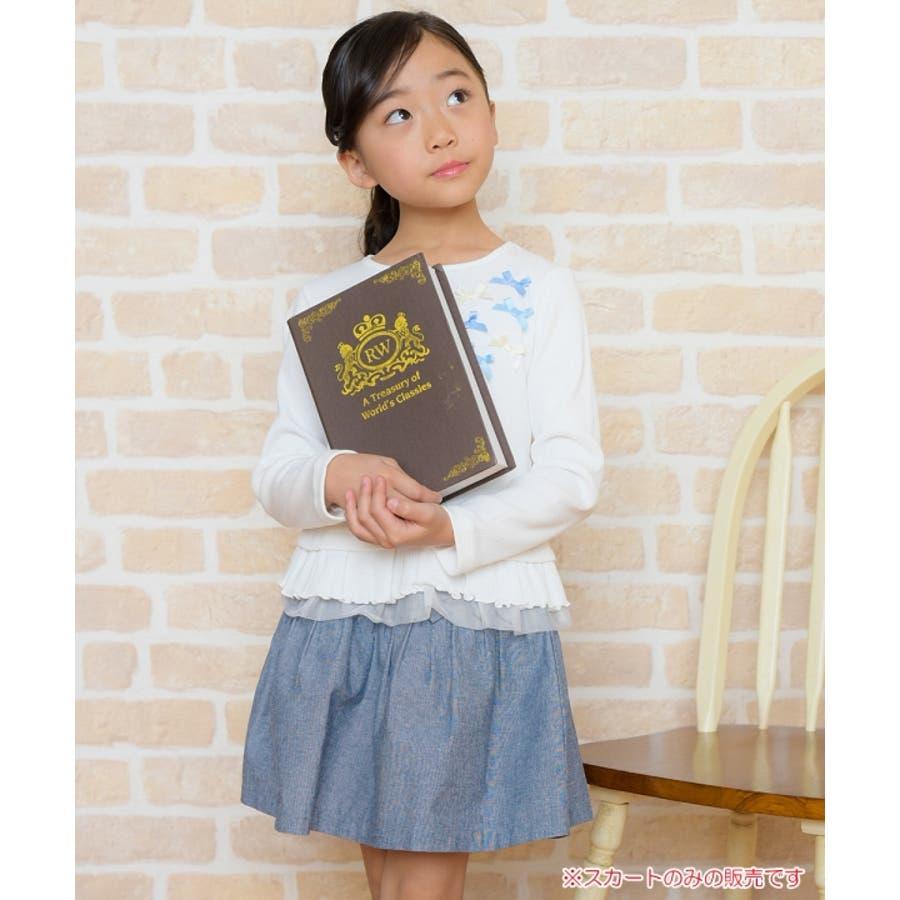 子供服 女の子 スカート 膝丈 普段着 通学着 綿100%リボン付きダンガリーギャザー ネイビー 120cm 130cm 140cm150cm 160cm 【アイアムマリリン IamMarilyn】 7