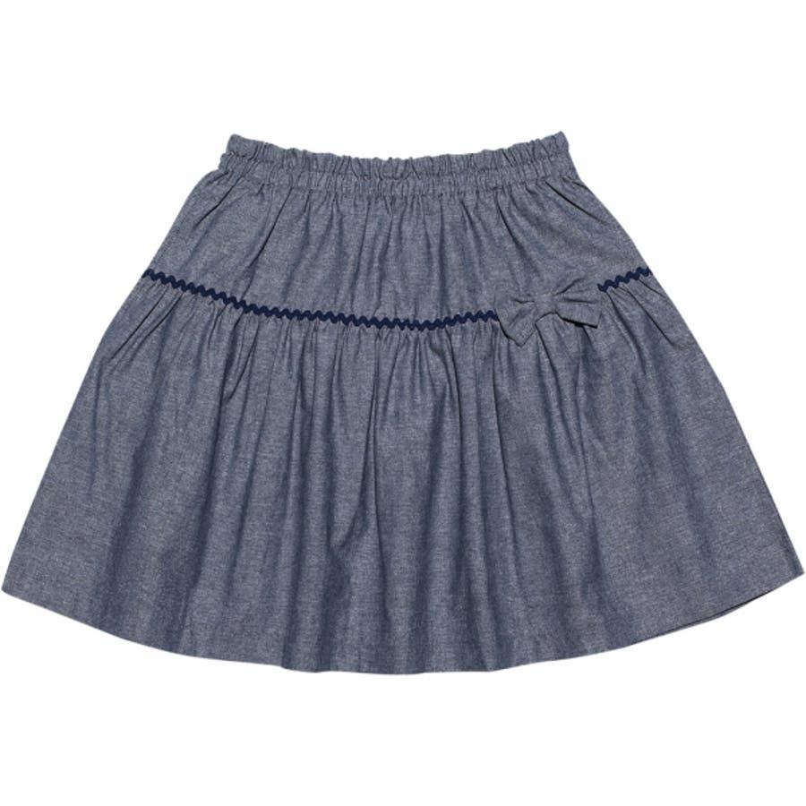 子供服 女の子 スカート 膝丈 普段着 通学着 綿100%リボン付きダンガリーギャザー ネイビー 120cm 130cm 140cm150cm 160cm 【アイアムマリリン IamMarilyn】 2