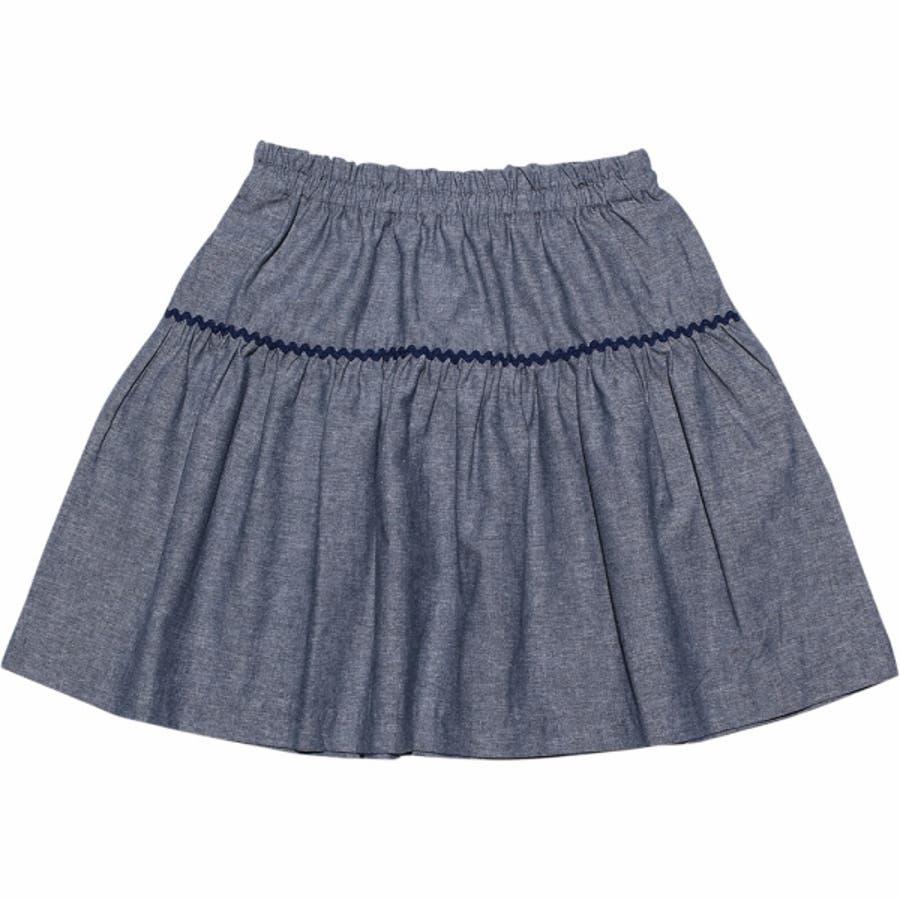 子供服 女の子 スカート 膝丈 普段着 通学着 綿100%リボン付きダンガリーギャザー ネイビー 120cm 130cm 140cm150cm 160cm 【アイアムマリリン IamMarilyn】 3