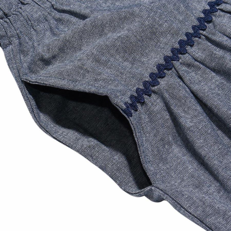 子供服 女の子 スカート 膝丈 普段着 通学着 綿100%リボン付きダンガリーギャザー ネイビー 120cm 130cm 140cm150cm 160cm 【アイアムマリリン IamMarilyn】 5