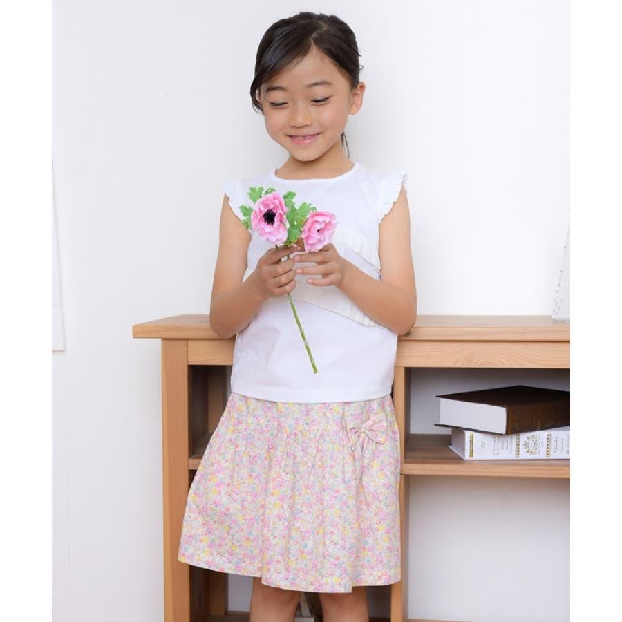 子供服 女の子 スカート 膝丈 普段着 通学着 日本製 綿100%花柄リボン付きギャザー ウエストゴム ピンク パープル 100cm110cm 120cm 130cm 【アイアムマリリン IamMarilyn】 7
