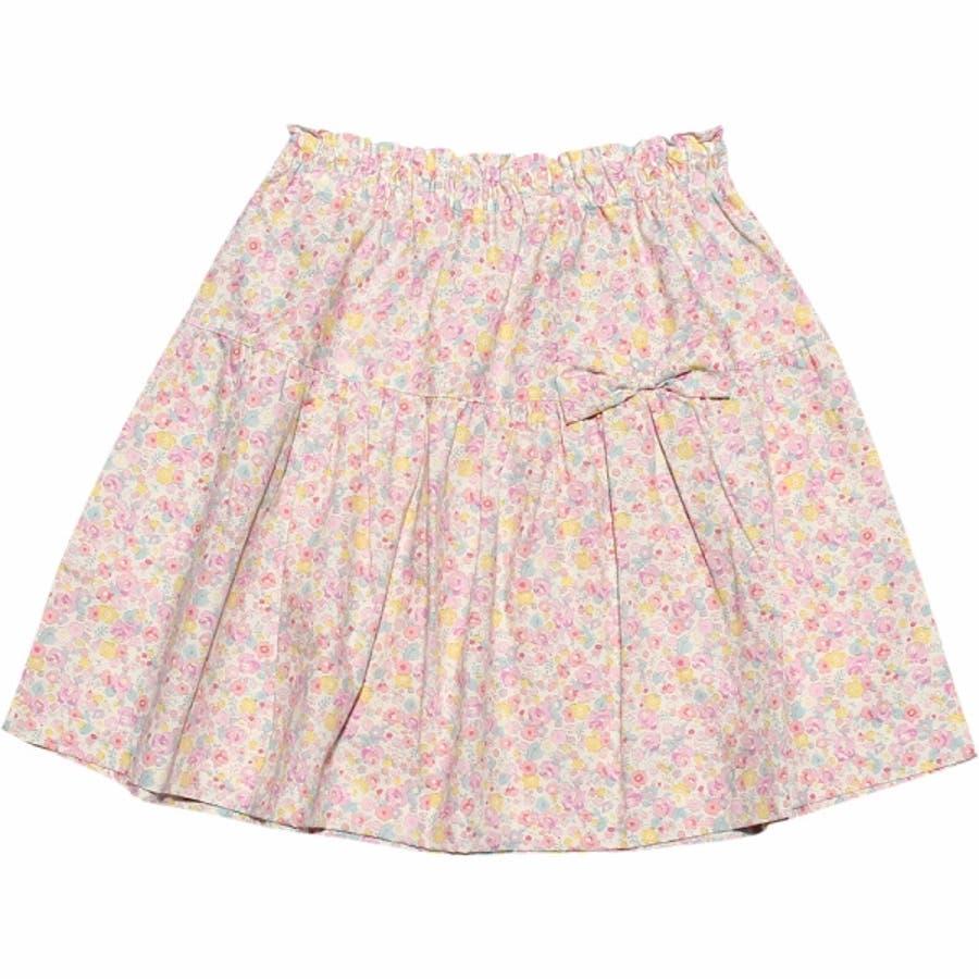 子供服 女の子 スカート 膝丈 普段着 通学着 日本製 綿100%花柄リボン付きギャザー ウエストゴム ピンク パープル 100cm110cm 120cm 130cm 【アイアムマリリン IamMarilyn】 2