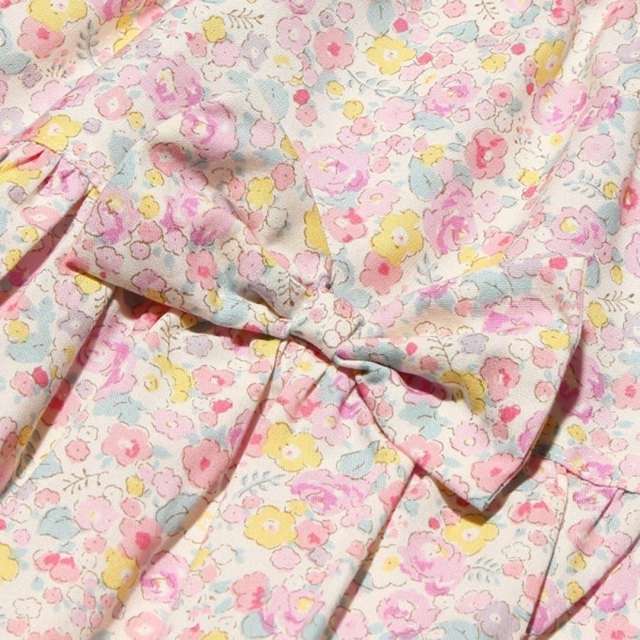 子供服 女の子 スカート 膝丈 普段着 通学着 日本製 綿100%花柄リボン付きギャザー ウエストゴム ピンク パープル 100cm110cm 120cm 130cm 【アイアムマリリン IamMarilyn】 4