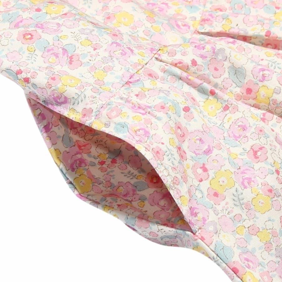 子供服 女の子 スカート 膝丈 普段着 通学着 日本製 綿100%花柄リボン付きギャザー ウエストゴム ピンク パープル 100cm110cm 120cm 130cm 【アイアムマリリン IamMarilyn】 5