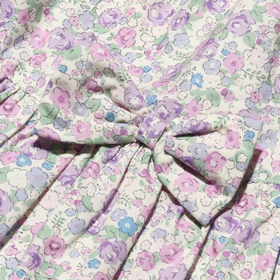 子供服 女の子 スカート 膝丈 普段着 通学着 日本製 綿100%花柄リボン付きギャザー ウエストゴム ピンク パープル 100cm110cm 120cm 130cm 【アイアムマリリン IamMarilyn】 10