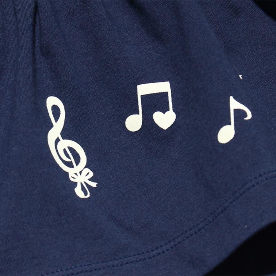 子供服 女の子 パンツ ショートパンツ ベビー服 普段着 綿100%音符プリントギャザー5分丈スカッツ ネイビー ブルー 80cm90cm 【アイアムマリリン IamMarilyn】 4
