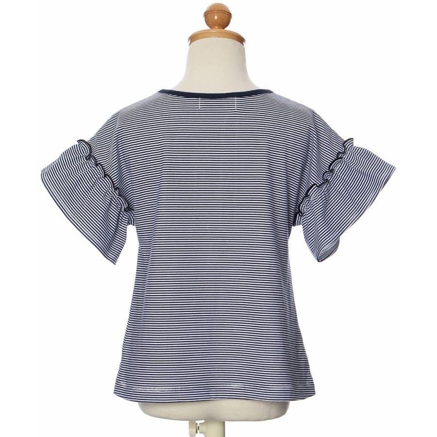 子供服 女の子 Tシャツ 半袖 普段着 通学着 綿100%ボーダー柄リボン付きドロップショルダーフリル袖 ネイビー 100cm110cm 120cm 130cm 【アイアムマリリン IamMarilyn】 3