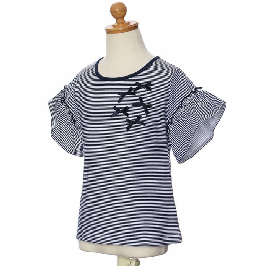 子供服 女の子 Tシャツ 半袖 普段着 通学着 綿100%ボーダー柄リボン付きドロップショルダーフリル袖 ネイビー 100cm110cm 120cm 130cm 【アイアムマリリン IamMarilyn】 4