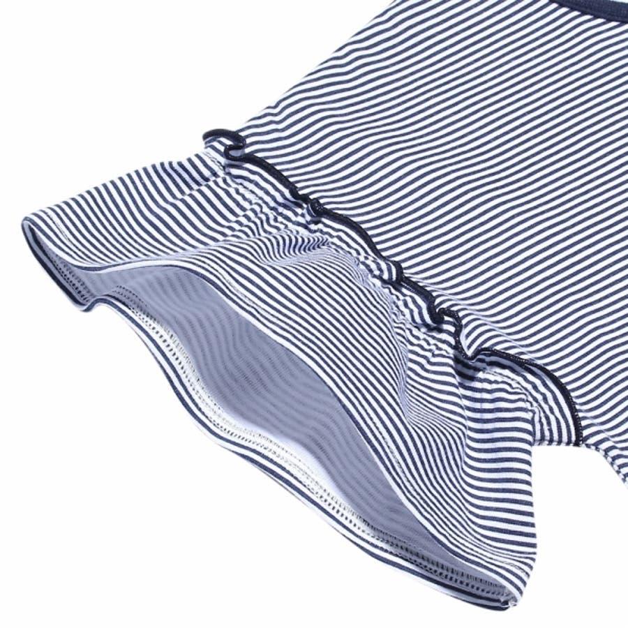 子供服 女の子 Tシャツ 半袖 普段着 通学着 綿100%ボーダー柄リボン付きドロップショルダーフリル袖 ネイビー 100cm110cm 120cm 130cm 【アイアムマリリン IamMarilyn】 8