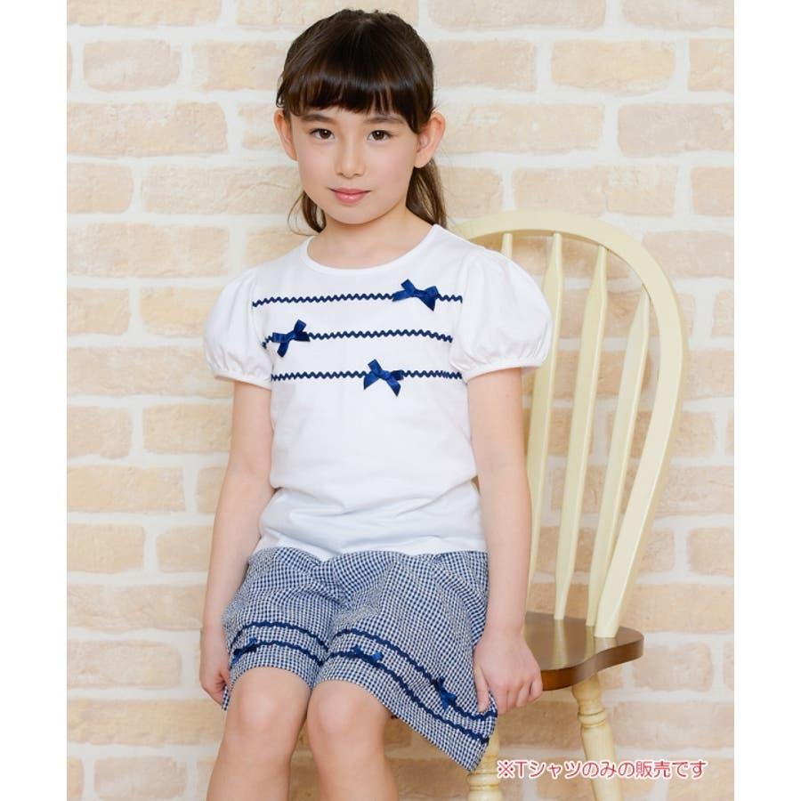 子供服 女の子 Tシャツ 半袖 普段着 通学着 綿100%リボン&レースラインつきパフスリーブ オフホワイト ブルー 100cm110cm 120cm 130cm 140cm 150cm 160cm 【アイアムマリリン IamMarilyn】 10