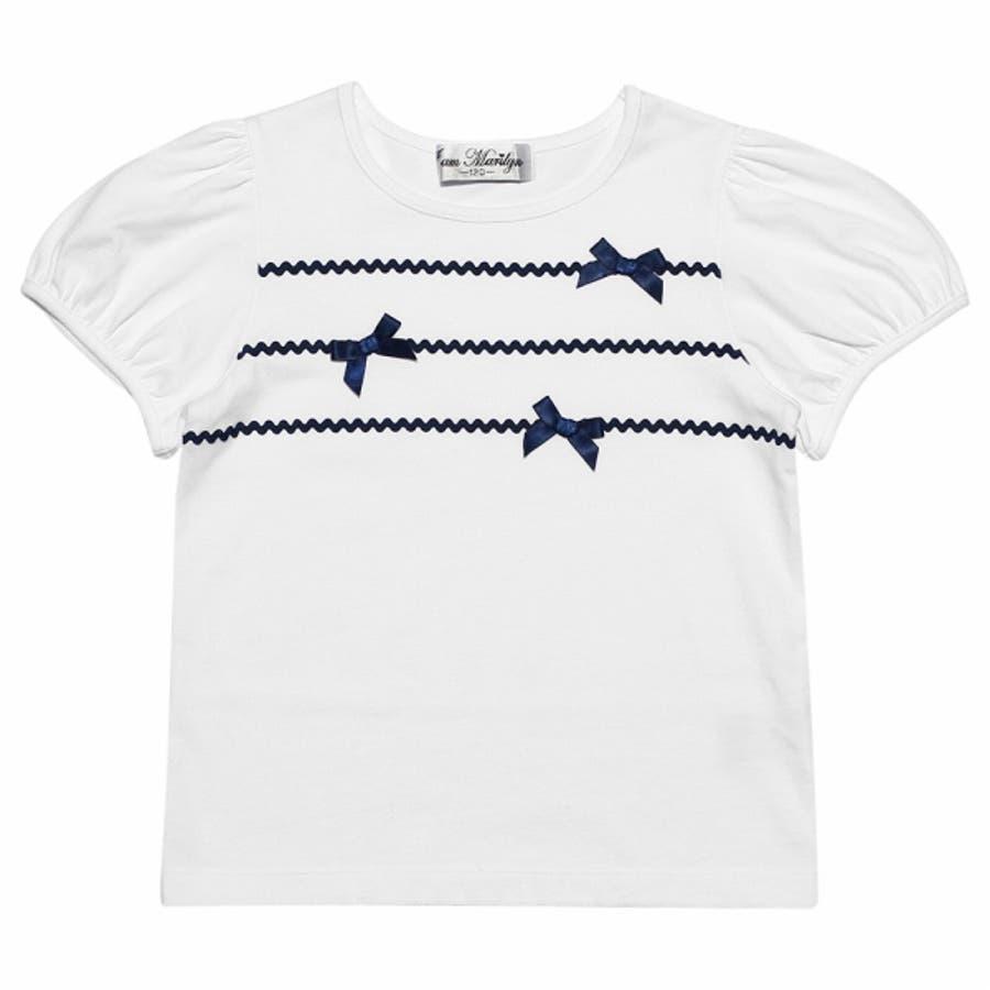 子供服 女の子 Tシャツ 半袖 普段着 通学着 綿100%リボン&レースラインつきパフスリーブ オフホワイト ブルー 100cm110cm 120cm 130cm 140cm 150cm 160cm 【アイアムマリリン IamMarilyn】 5