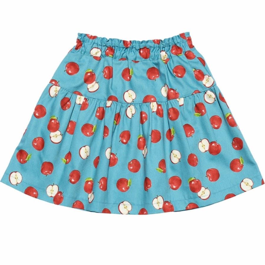 子供服 女の子 スカート 膝丈 普段着 通学着 お出かけ着 日本製綿100%リンゴ柄フルーツプリントギャザー ブルー 100cm110cm 120cm 130cm 140cm 【むーのんのん moononnon】 2