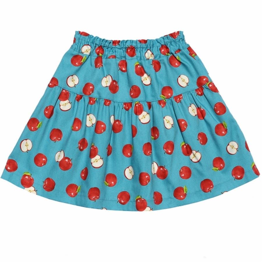 子供服 女の子 スカート 膝丈 普段着 通学着 お出かけ着 日本製綿100%リンゴ柄フルーツプリントギャザー ブルー 100cm110cm 120cm 130cm 140cm 【むーのんのん moononnon】 3
