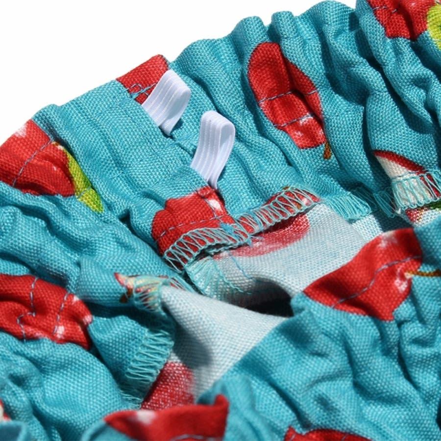 子供服 女の子 スカート 膝丈 普段着 通学着 お出かけ着 日本製綿100%リンゴ柄フルーツプリントギャザー ブルー 100cm110cm 120cm 130cm 140cm 【むーのんのん moononnon】 4