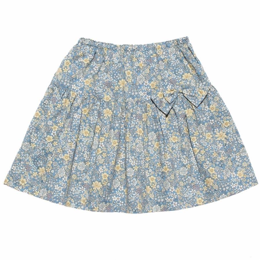 子供服 女の子 スカート 膝丈 普段着 通学着 綿100% 花柄 リボン付き ギャザー スカート オフホワイト ブルー 100cm110cm 120cm 130cm 140cm 【むーのんのん moononnon】 6