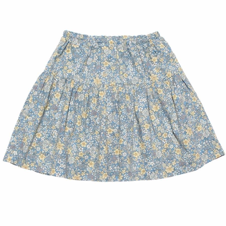 子供服 女の子 スカート 膝丈 普段着 通学着 綿100% 花柄 リボン付き ギャザー スカート オフホワイト ブルー 100cm110cm 120cm 130cm 140cm 【むーのんのん moononnon】 7