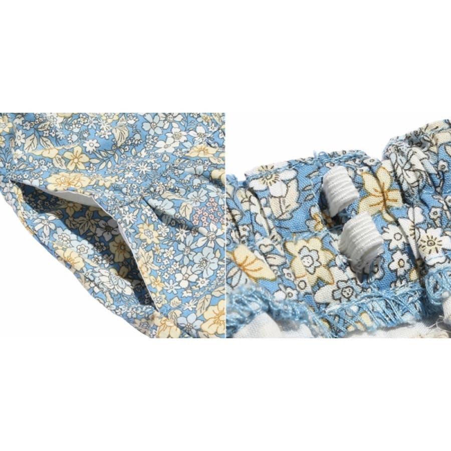 子供服 女の子 スカート 膝丈 普段着 通学着 綿100% 花柄 リボン付き ギャザー スカート オフホワイト ブルー 100cm110cm 120cm 130cm 140cm 【むーのんのん moononnon】 9