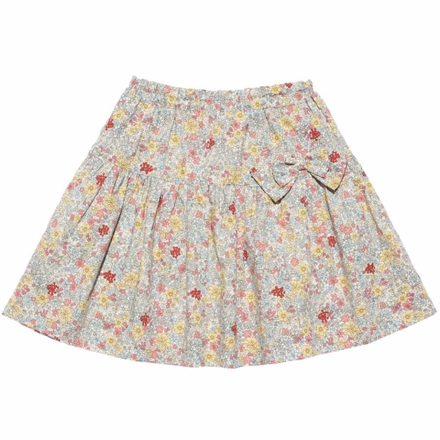 子供服 女の子 スカート 膝丈 普段着 通学着 綿100% 花柄 リボン付き ギャザー スカート オフホワイト ブルー 100cm110cm 120cm 130cm 140cm 【むーのんのん moononnon】 2