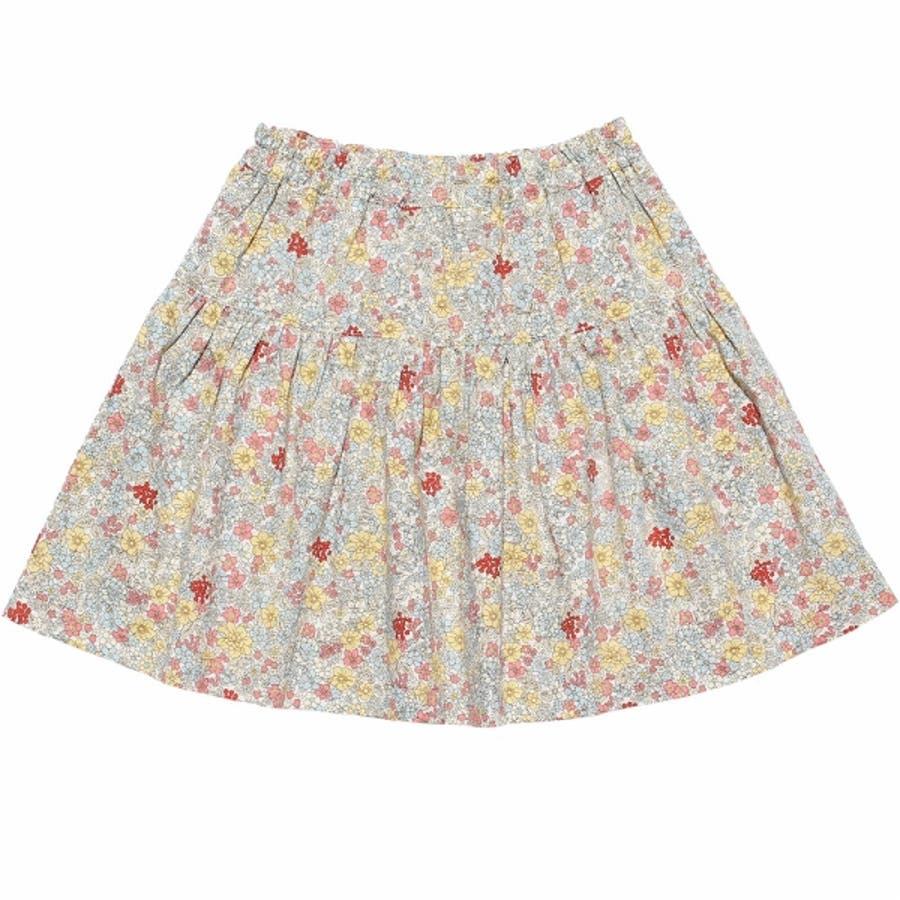 子供服 女の子 スカート 膝丈 普段着 通学着 綿100% 花柄 リボン付き ギャザー スカート オフホワイト ブルー 100cm110cm 120cm 130cm 140cm 【むーのんのん moononnon】 3