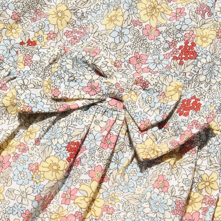 子供服 女の子 スカート 膝丈 普段着 通学着 綿100% 花柄 リボン付き ギャザー スカート オフホワイト ブルー 100cm110cm 120cm 130cm 140cm 【むーのんのん moononnon】 4