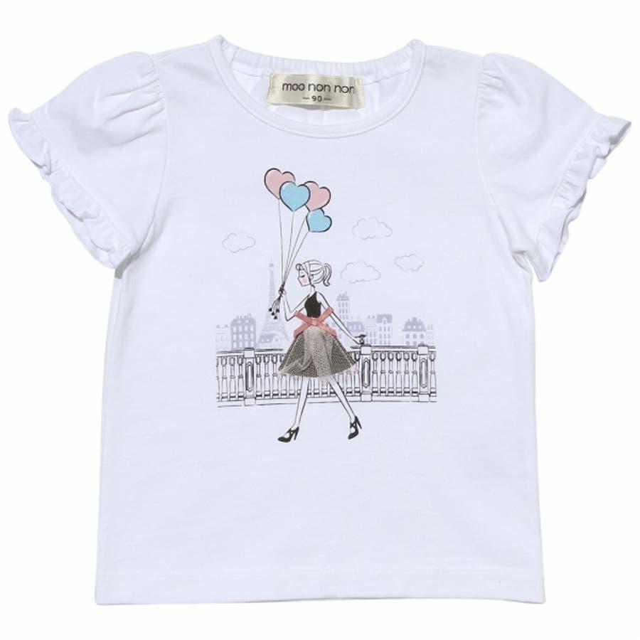 子供服 女の子 Tシャツ 半袖 普段着 ベビーサイズ綿100%女の子&風船プリントフリル袖リボン付き ピンク オフホワイト 80cm90cm むーのんのん moononnon 6