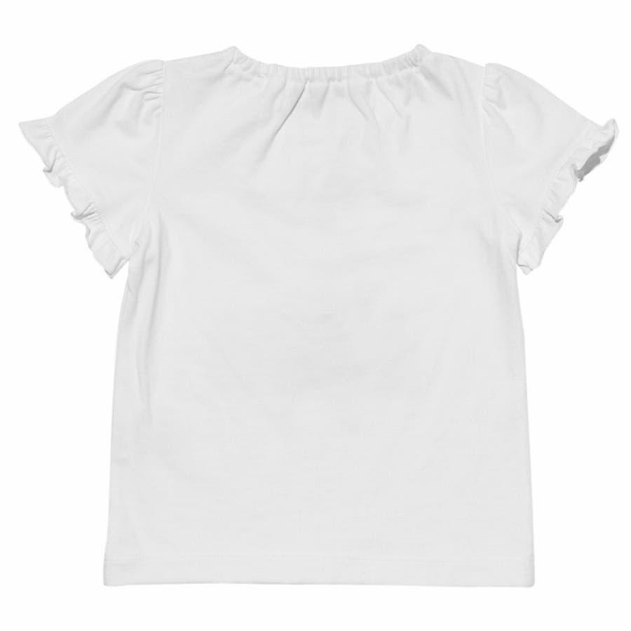 子供服 女の子 Tシャツ 半袖 普段着 ベビーサイズ綿100%女の子&風船プリントフリル袖リボン付き ピンク オフホワイト 80cm90cm むーのんのん moononnon 7